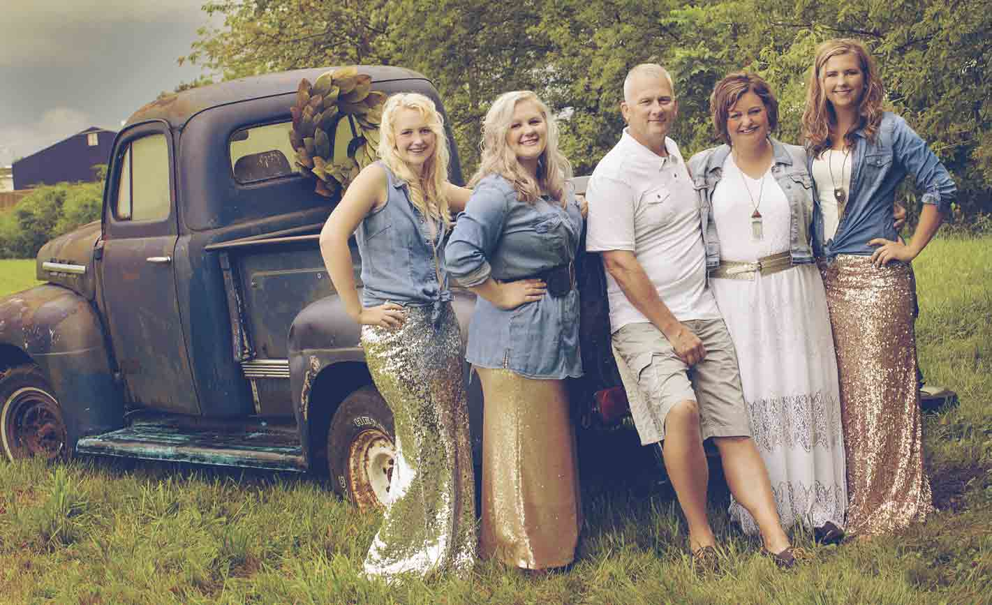 When Chris Bemiss (second from right) of West Union was diagnosed with a meningioma brain tumor in February, her life was flipped upside down. Now, after undergoing surgery and with radiation treatment in the future, Bemiss credits her loving family, including (l-r) Brooke, Brittany,...